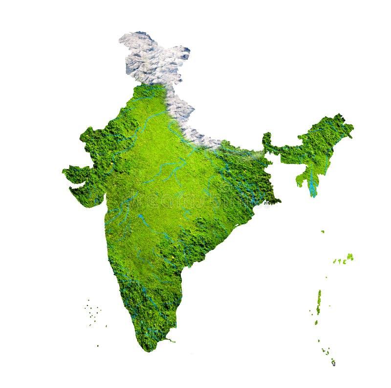 Γεωγραφικός χάρτης της Ινδίας διανυσματική απεικόνιση