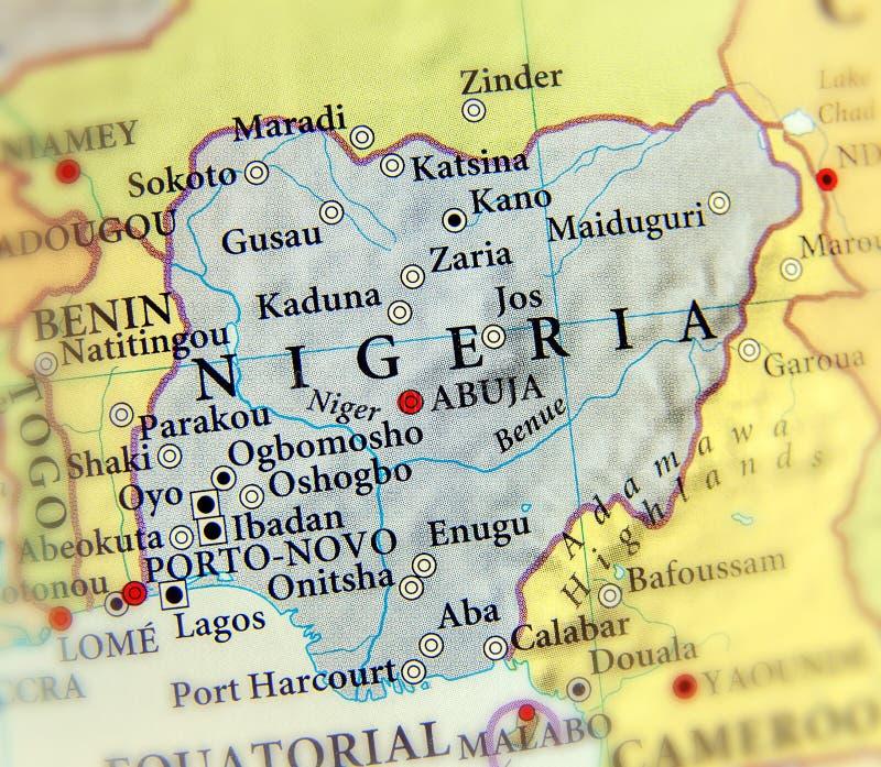 Γεωγραφικός χάρτης της Νιγηρίας με τις σημαντικές πόλεις στοκ εικόνες