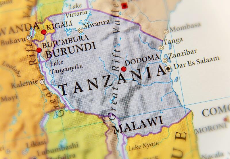 Γεωγραφικός χάρτης της Τανζανίας με τις σημαντικές πόλεις στοκ φωτογραφία με δικαίωμα ελεύθερης χρήσης
