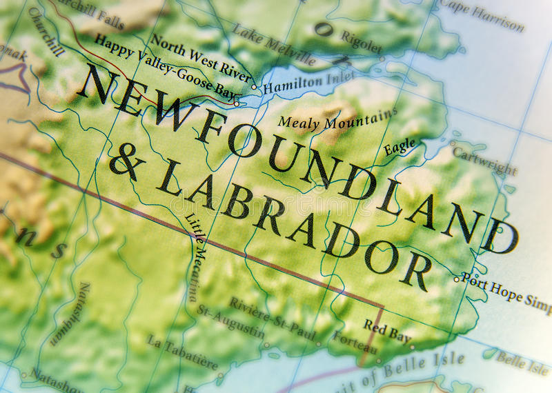Γεωγραφικός χάρτης της χώρας του Καναδά και της νέας γης & του Λαμπραντόρ με τις σημαντικές πόλεις στοκ εικόνα με δικαίωμα ελεύθερης χρήσης