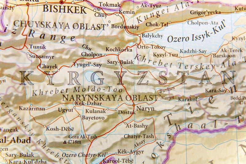 Γεωγραφικός χάρτης του Κιργιστάν με τις σημαντικές πόλεις στοκ φωτογραφία με δικαίωμα ελεύθερης χρήσης