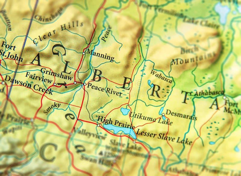 Γεωγραφικός χάρτης του κράτους Αλμπέρτα του Καναδά με τις σημαντικές πόλεις στοκ εικόνες