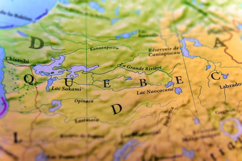 Γεωγραφικός χάρτης του κράτους Κεμπέκ του Καναδά με τις σημαντικές πόλεις στοκ φωτογραφίες