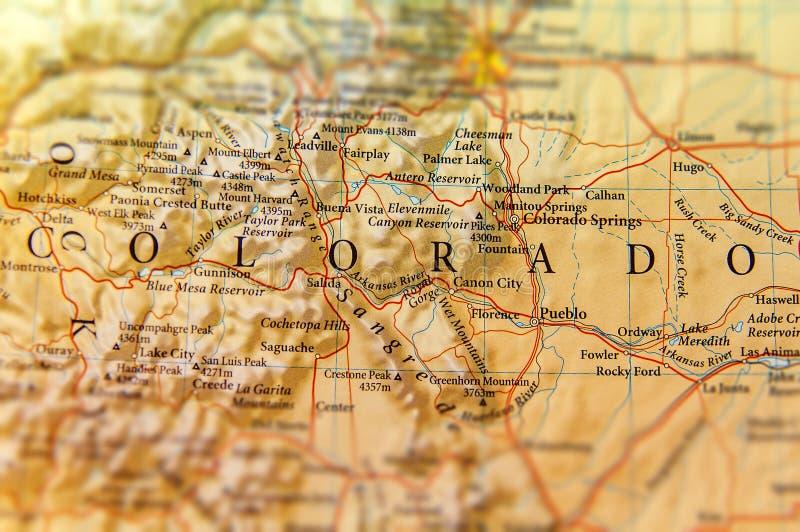 Γεωγραφικός χάρτης του κράτους του Κολοράντο στενός στοκ φωτογραφία με δικαίωμα ελεύθερης χρήσης