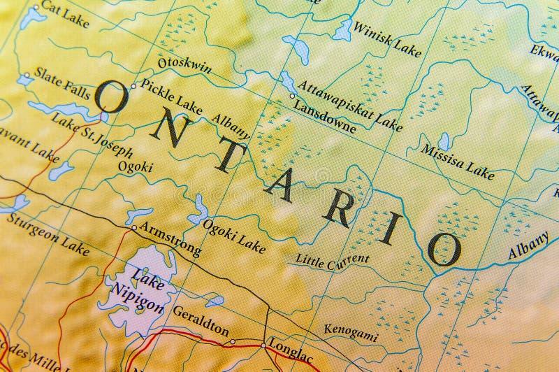 Γεωγραφικός χάρτης του Οντάριο στενός στοκ εικόνα