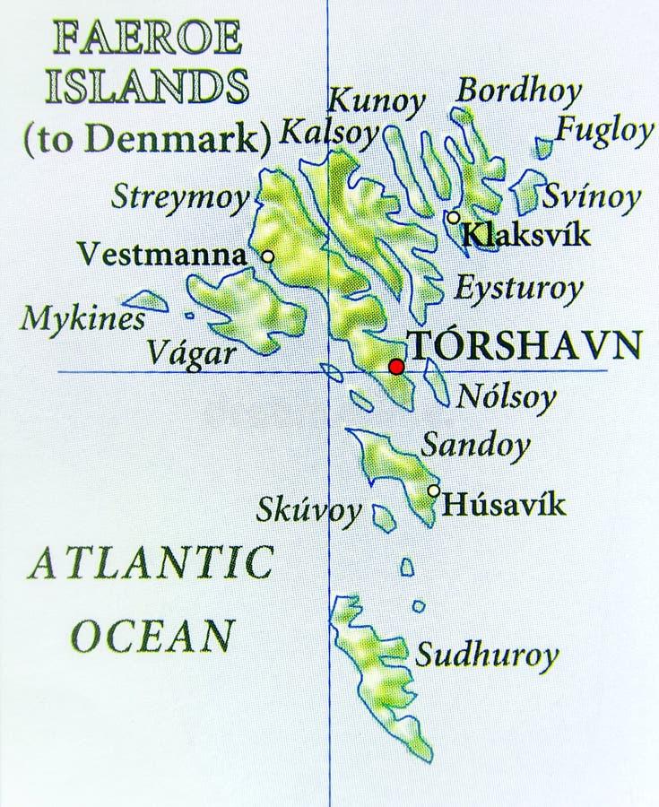 Γεωγραφικός χάρτης των ευρωπαϊκών Νησιών Φερόες απεικόνιση αποθεμάτων