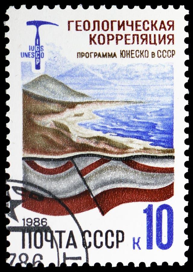 Γεωλογικός συσχετισμός: τοπίο και γεωλογικό τμήμα, προγράμματα της ΟΥΝΕΣΚΟ στην ΕΣΣΔ serie, circa 1986 στοκ φωτογραφία με δικαίωμα ελεύθερης χρήσης
