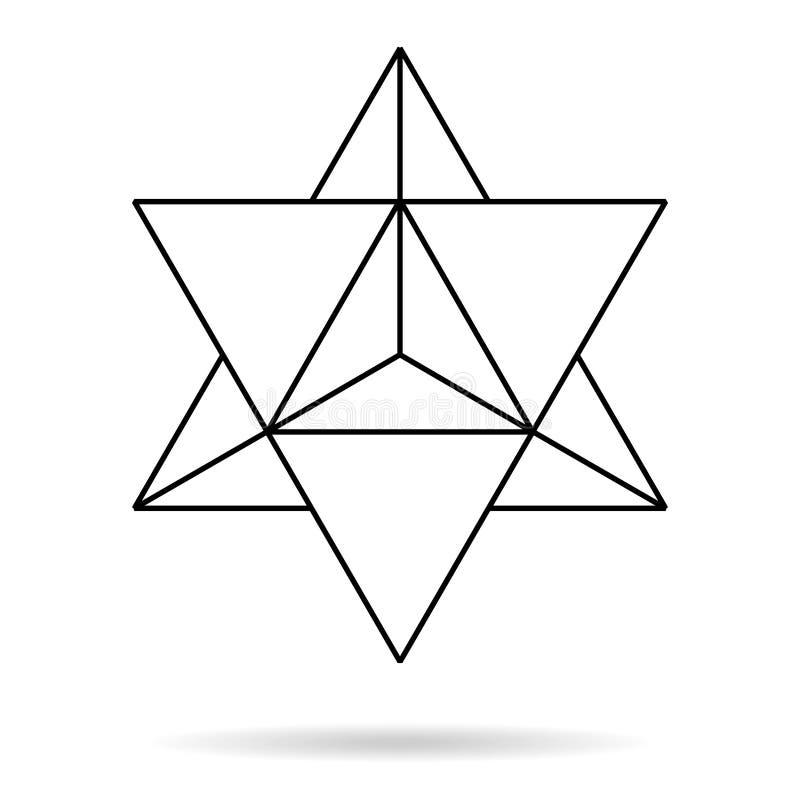 γεωμετρία ιερή λεπτή γραμμή merkaba γεωμετρική διανυσματική απεικόνιση
