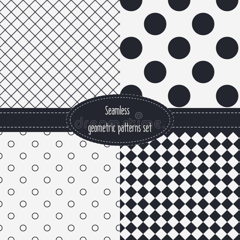 Γεωμετρικά άνευ ραφής σχέδια καθορισμένα Σκοτεινά και ανοικτό γκρι χρώματα μαύρο λευκό ελεύθερη απεικόνιση δικαιώματος