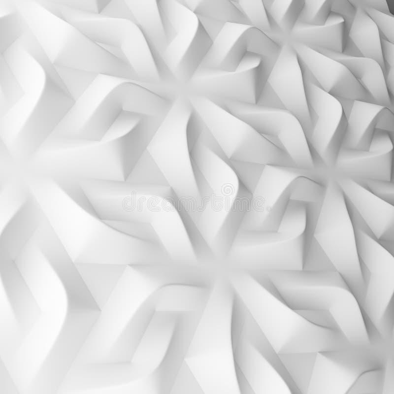 Γεωμετρικά άσπρα αφηρημένα πολύγωνα, ως τοίχο κεραμιδιών τρισδιάστατη απεικόνιση, απόδοση ελεύθερη απεικόνιση δικαιώματος