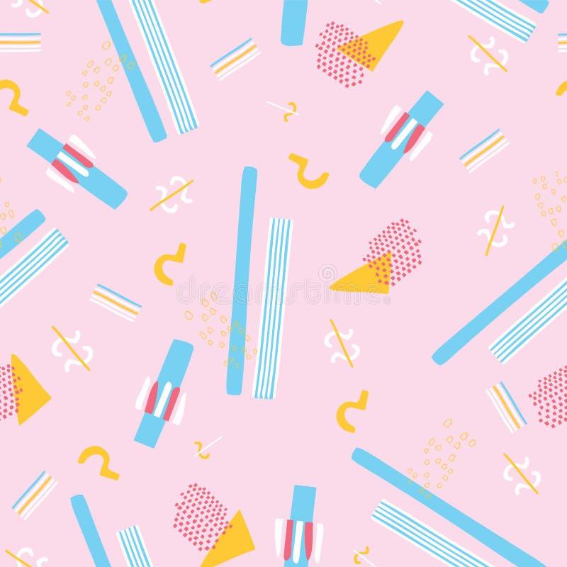 Γεωμετρικά αφηρημένα άνευ ραφής διανυσματικά ροζ και μπλε σχεδίων ύφους της Μέμφιδας διανυσματική απεικόνιση