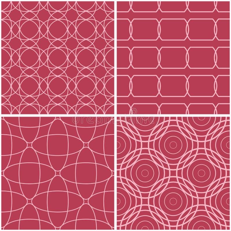 γεωμετρικά πρότυπα Σύνολο χλωμών κόκκινων άνευ ραφής υποβάθρων απεικόνιση αποθεμάτων