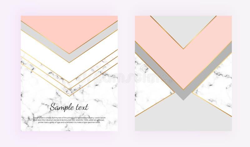 Γεωμετρικά σχέδια κάλυψης με το χρυσό, το γκρι, το ρόδινο και μαρμάρινο υπόβαθρο σύστασης κρητιδογραφιών Πρότυπα για την πρόσκλησ απεικόνιση αποθεμάτων