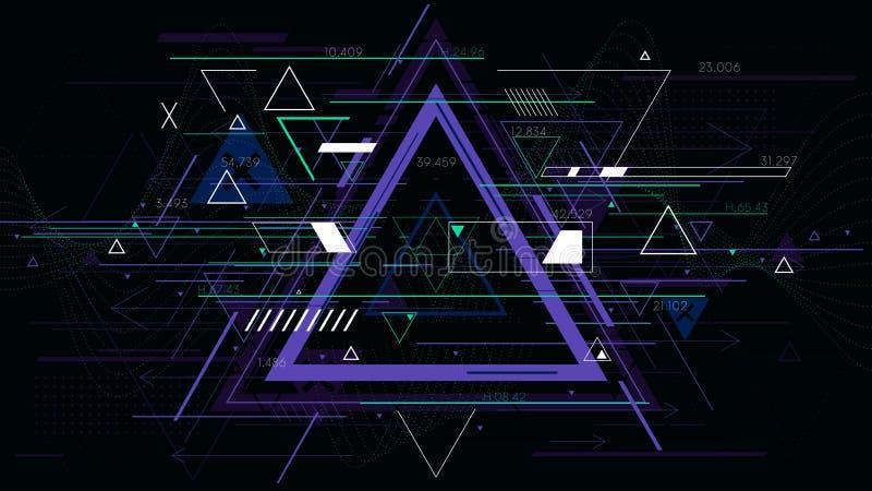 Γεωμετρικά υπόβαθρα τριγώνων τεχνολογίας φουτουριστικά αφηρημένα, διανυσματική απεικόνιση sci-Fi ελεύθερη απεικόνιση δικαιώματος