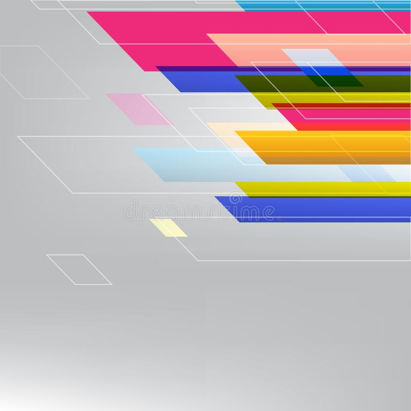 Γεωμετρικές αφηρημένες ζωηρόχρωμες ευθείες γραμμές και υπόβαθρο σύγχρονου σχεδίου με το διάστημα αντιγράφων, απεικόνιση ελεύθερη απεικόνιση δικαιώματος