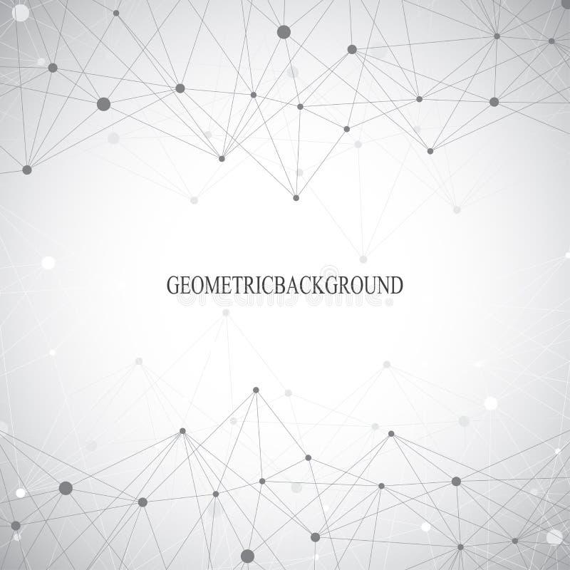 Γεωμετρικές γκρίζες μόριο και επικοινωνία υποβάθρου Συνδεδεμένες γραμμές με τα σημεία επίσης corel σύρετε το διάνυσμα απεικόνισης διανυσματική απεικόνιση