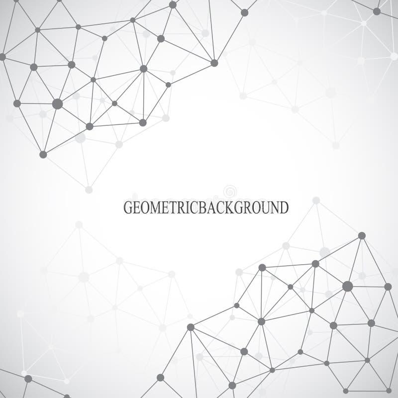 Γεωμετρικές γκρίζες μόριο και επικοινωνία υποβάθρου Συνδεδεμένες γραμμές με τα σημεία επίσης corel σύρετε το διάνυσμα απεικόνισης ελεύθερη απεικόνιση δικαιώματος