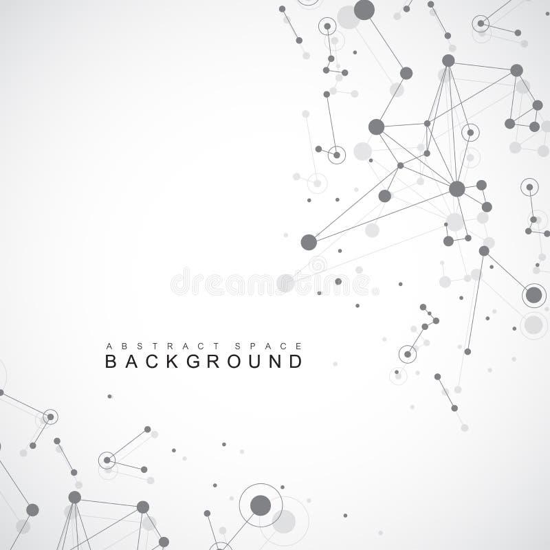 Γεωμετρικές γραφικές μόριο και επικοινωνία υποβάθρου Μεγάλα στοιχεία σύνθετα με τις ενώσεις Σκηνικό προοπτικής ελάχιστος διανυσματική απεικόνιση