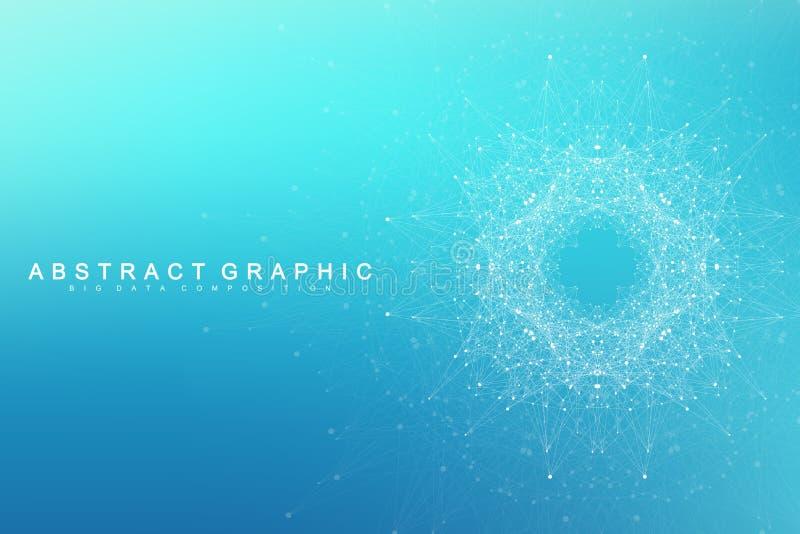 Γεωμετρικές γραφικές μόριο και επικοινωνία υποβάθρου Μεγάλα στοιχεία σύνθετα με τις ενώσεις Πλέγμα γραμμών, ελάχιστη σειρά διανυσματική απεικόνιση