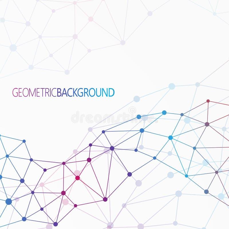 Γεωμετρικές ζωηρόχρωμες μόριο και επικοινωνία υποβάθρου για το σχέδιό σας και το κείμενό σας ελεύθερη απεικόνιση δικαιώματος