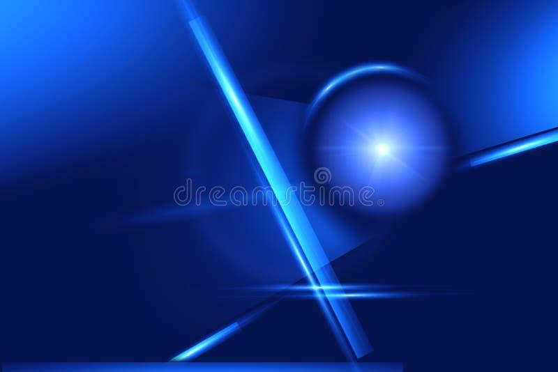 Γεωμετρικές μορφές πυράκτωσης σε ένα μπλε υπόβαθρο Αφηρημένο σκηνικό απεικόνιση αποθεμάτων