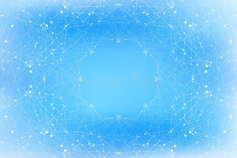Γεωμετρικές μπλε μόριο και επικοινωνία υποβάθρου Συνδεδεμένες γραμμές με τα σημεία επίσης corel σύρετε το διάνυσμα απεικόνισης απεικόνιση αποθεμάτων