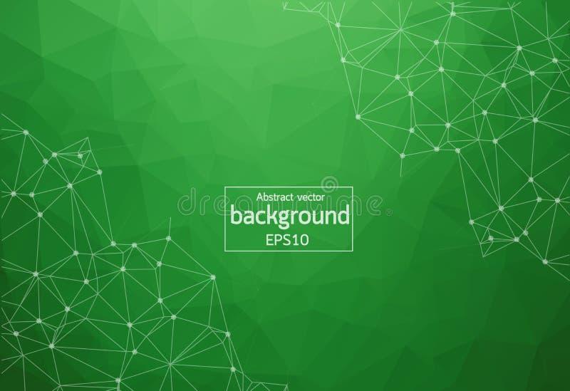 Γεωμετρικές πράσινες Polygonal μόριο και επικοινωνία υποβάθρου Συνδεδεμένες γραμμές με τα σημεία Υπόβαθρο μινιμαλισμού Έννοια ελεύθερη απεικόνιση δικαιώματος