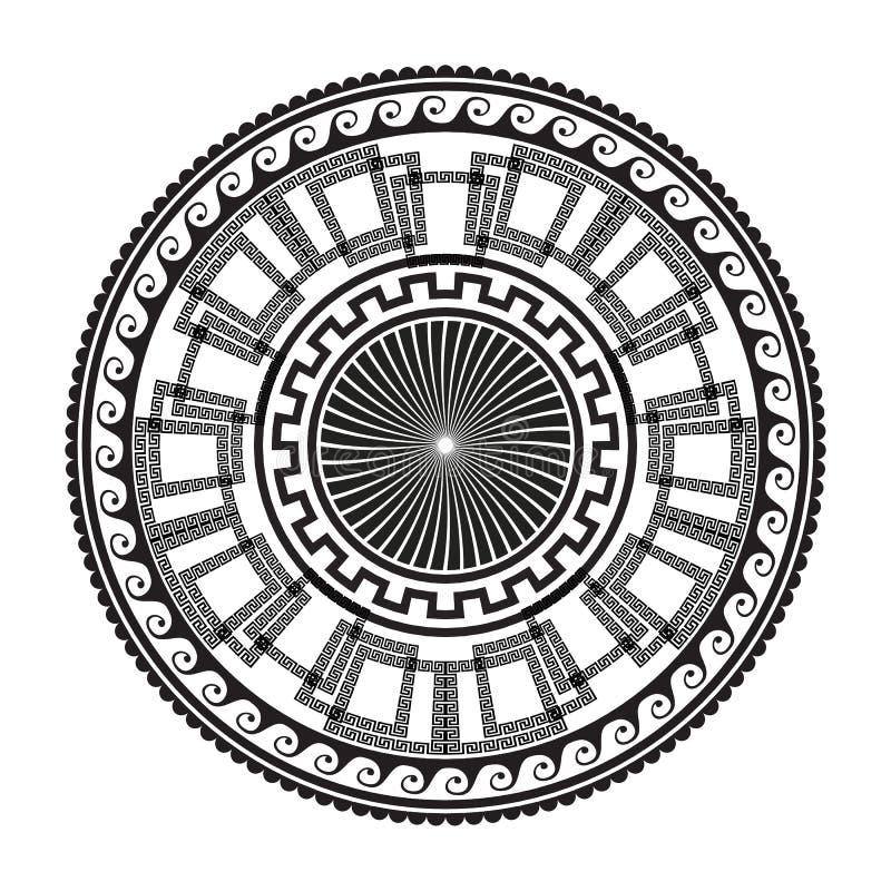 Γεωμετρική αρχαία στρογγυλή διακόσμηση Το διάνυσμα απομόνωσε τους μαύρους μαιάνδρους διανυσματική απεικόνιση