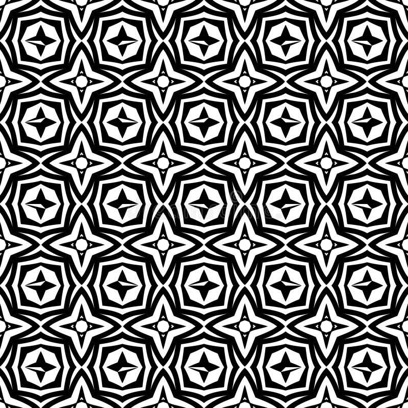 Γεωμετρική αστεριών απεικόνιση υποβάθρου σχεδίων λουλουδιών άνευ ραφής στο μαύρο λευκό ν διανυσματική απεικόνιση