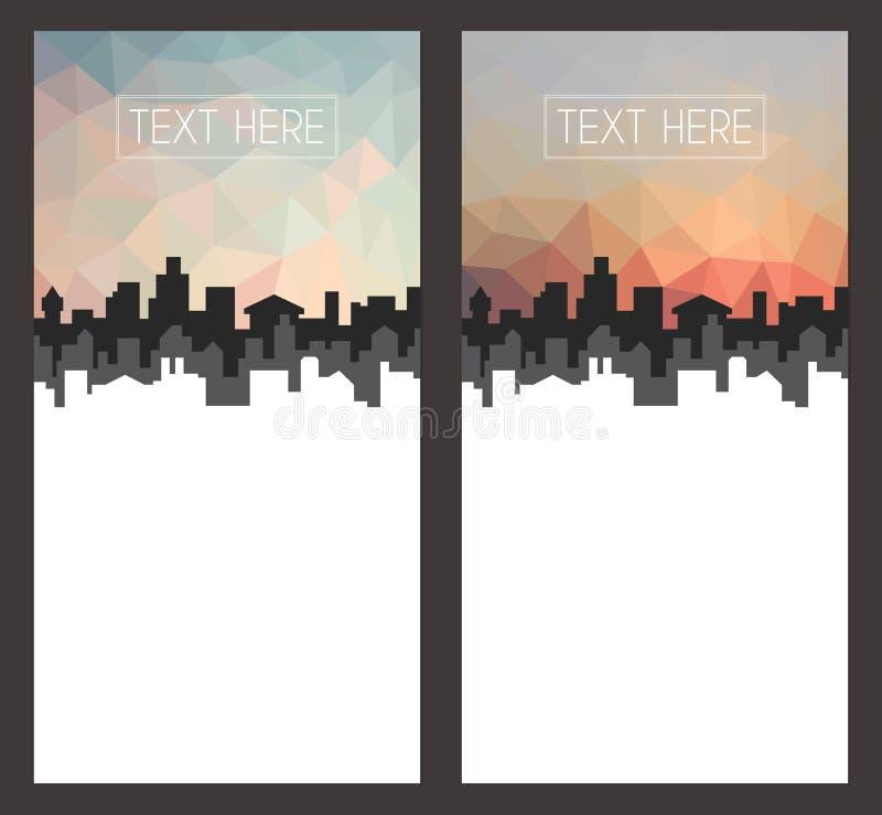 Γεωμετρική αφηρημένη απεικόνιση εικονικής παράστασης πόλης, χαμηλό πολυ σχέδιο προτύπων φυλλάδιων απεικόνιση αποθεμάτων