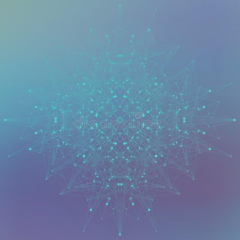 Γεωμετρική αφηρημένη μορφή με τις συνδεδεμένα γραμμές και τα σημεία στο μπλε υπόβαθρο επίσης corel σύρετε το διάνυσμα απεικόνισης διανυσματική απεικόνιση