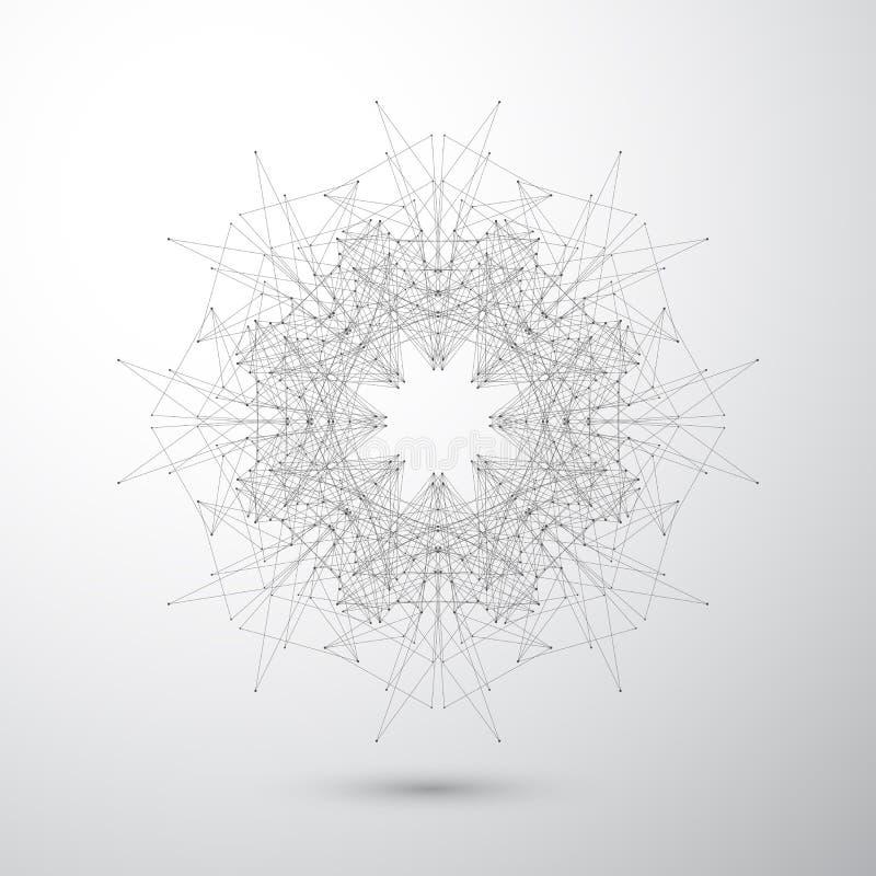 Γεωμετρική αφηρημένη μορφή με τις συνδεδεμένα γραμμές και τα σημεία Γκρίζο υπόβαθρο Tecnology για το σχέδιό σας επίσης corel σύρε απεικόνιση αποθεμάτων