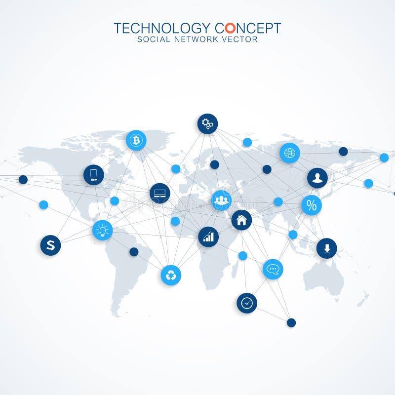 Γεωμετρική γραφική επικοινωνία υποβάθρου Σχέδιο έννοιας υπολογισμού σύννεφων και συνδέσεων παγκόσμιων δικτύων Μεγάλα στοιχεία απεικόνιση αποθεμάτων