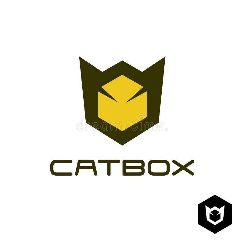 Γεωμετρική ιδέα λογότυπων γατών επικεφαλής απεικόνιση αποθεμάτων