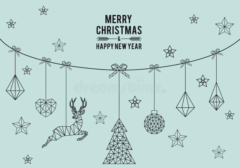 Γεωμετρική κάρτα Χριστουγέννων, διάνυσμα ελεύθερη απεικόνιση δικαιώματος