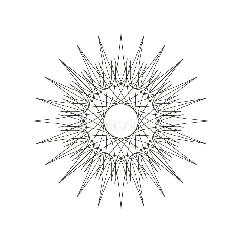 Γεωμετρική μορφή διακοσμήσεων, σχέδιο γραμμών mandala διακοσμήσεων, απεικόνιση eps 10 ελεύθερη απεικόνιση δικαιώματος