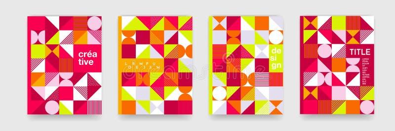 Γεωμετρική σύσταση υποβάθρου σχεδίων για το σχέδιο κάλυψης αφισών Το ελάχιστο τρίγωνο, κύκλος, τακτοποιεί κόκκινα πορτοκαλιά temp διανυσματική απεικόνιση
