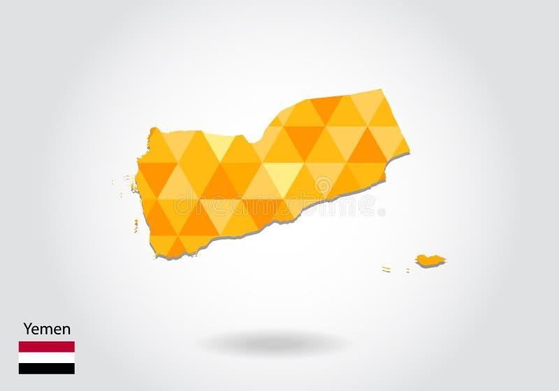 Γεωμετρικός polygonal διανυσματικός χάρτης ύφους της Υεμένης Χαμηλός πολυ χάρτης της Υεμένης διανυσματική απεικόνιση