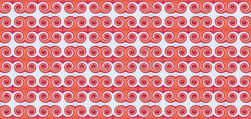 Γεωμετρικό άνευ ραφής σχέδιο με τα κόκκινα και άσπρα στοιχεία με την μπούκλα διανυσματική απεικόνιση