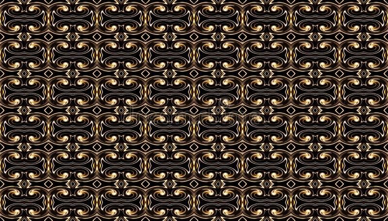 Γεωμετρικό άνευ ραφής σχέδιο με τα χρυσά στριμμένα στοιχεία σε ένα bla διανυσματική απεικόνιση