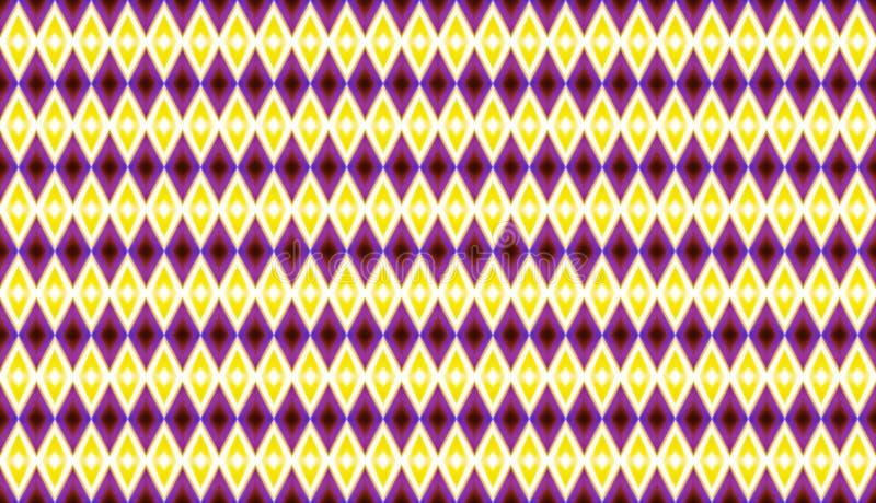 Γεωμετρικό άνευ ραφής σχέδιο του κίτρινου και πορφυρού diamonds_ απεικόνιση αποθεμάτων