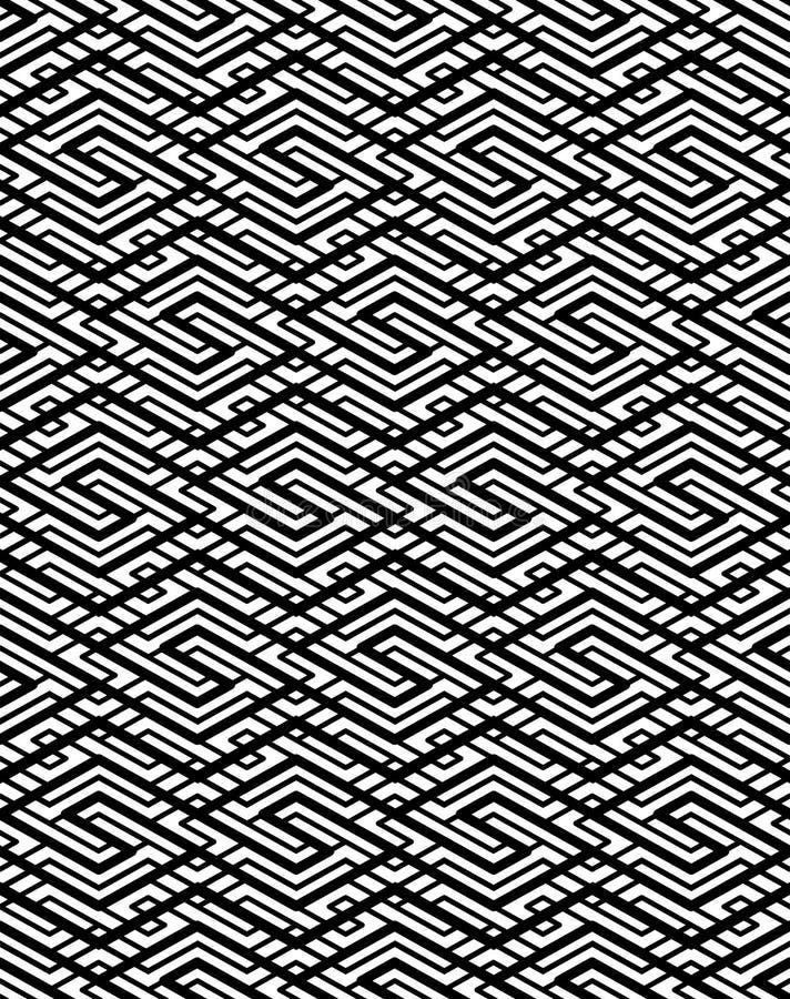 Γεωμετρικό άνευ ραφής σχέδιο αντίθεσης με τη συμμετρική διακόσμηση lin απεικόνιση αποθεμάτων