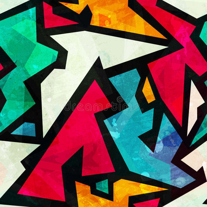 Γεωμετρικό άνευ ραφής σχέδιο γκράφιτι με την επίδραση grunge διανυσματική απεικόνιση