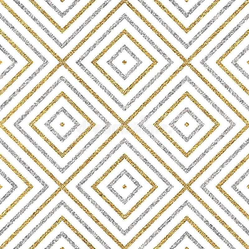 Γεωμετρικό άνευ ραφής σχέδιο των χρυσών ασημένιων διαγώνιων γραμμών ή των κτυπημάτων διανυσματική απεικόνιση