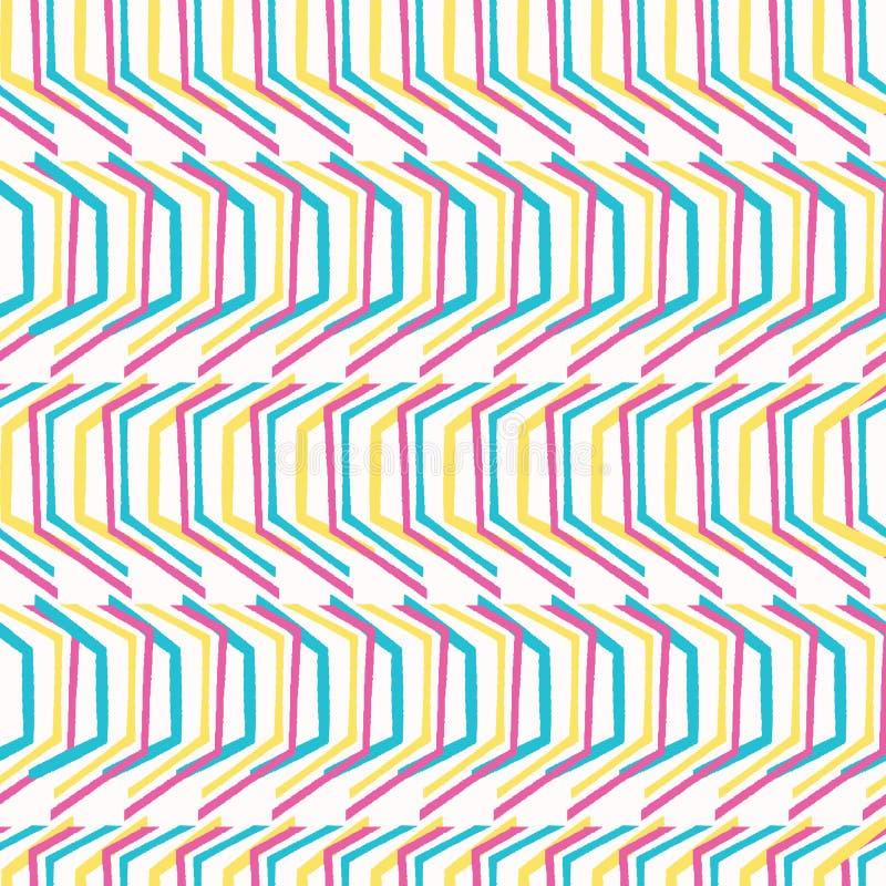 Γεωμετρικό αναδρομικό άνευ ραφής σχέδιο μορφής σιριτιών Παντού διανυσματικό υπόβαθρο τυπωμένων υλών Ύφος μόδας λωρίδων βελών της  διανυσματική απεικόνιση