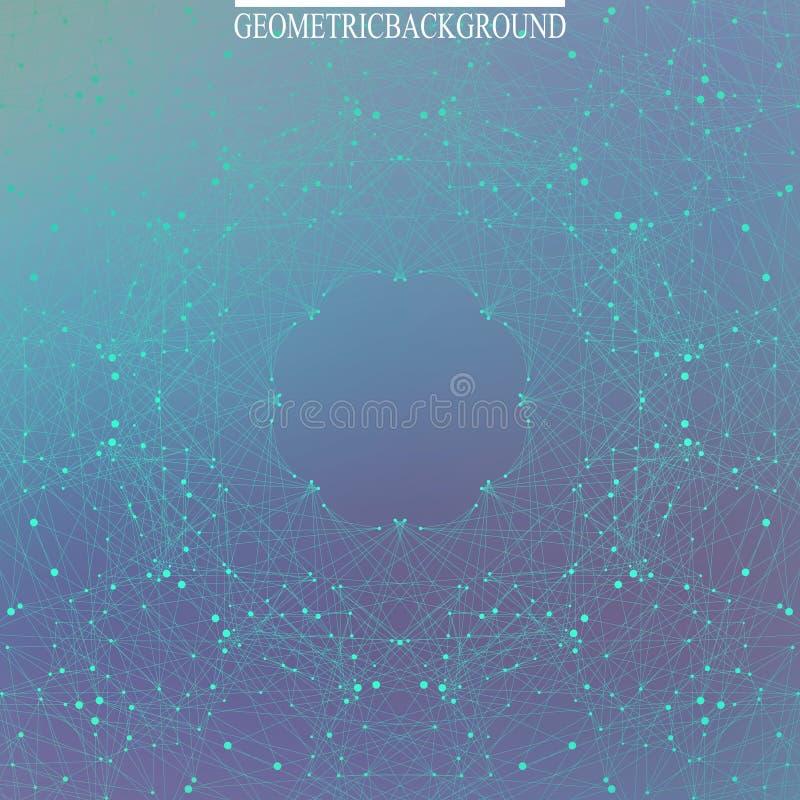 Γεωμετρικό αφηρημένο σκηνικό με τις συνδεδεμένα γραμμές και τα σημεία Ανασκόπηση επιστήμης αφηρημένο πρότυπο Γραφική ανασκόπηση απεικόνιση αποθεμάτων