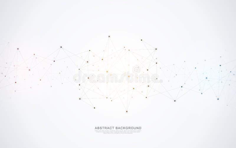 Γεωμετρικό αφηρημένο υπόβαθρο με τα συνδεδεμένες σημεία και τις γραμμές Μοριακή έννοια δομών και επικοινωνίας Ψηφιακή τεχνολογία απεικόνιση αποθεμάτων