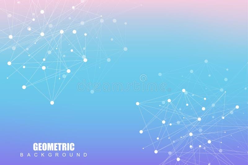 Γεωμετρικό αφηρημένο υπόβαθρο με τη συνδεδεμένα γραμμή και τα σημεία Μόριο και επικοινωνία δομών Επιστημονική έννοια για ελεύθερη απεικόνιση δικαιώματος