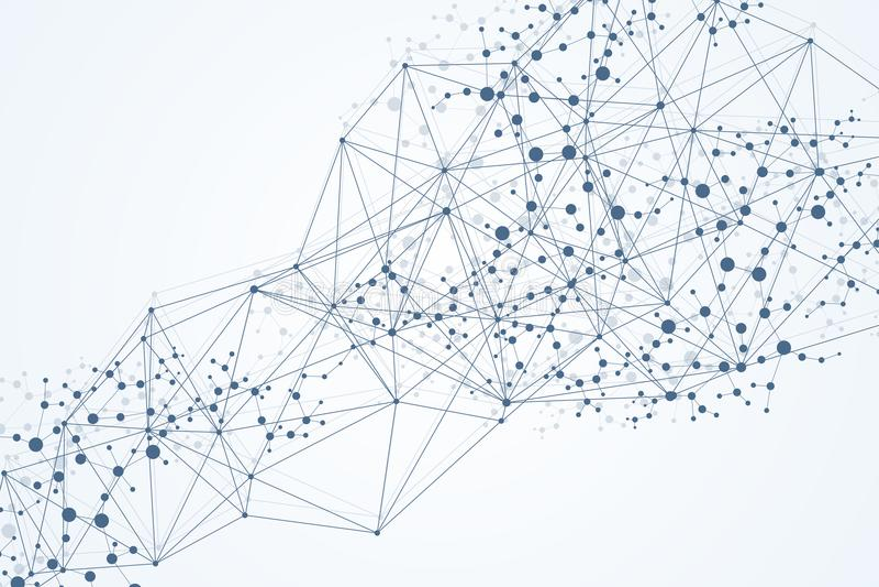 Γεωμετρικό αφηρημένο υπόβαθρο με τη συνδεδεμένα γραμμή και τα σημεία Μόριο και επικοινωνία δομών Μεγάλη απεικόνιση στοιχείων ελεύθερη απεικόνιση δικαιώματος
