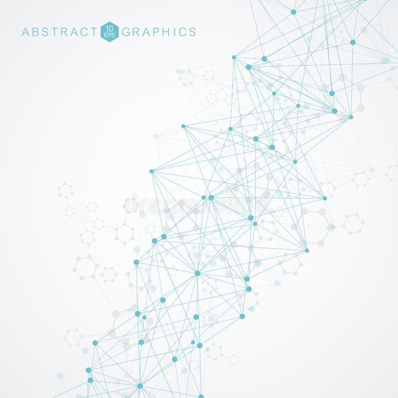 Γεωμετρικό αφηρημένο υπόβαθρο με τη συνδεδεμένα γραμμή και τα σημεία Μόριο και επικοινωνία δομών Μεγάλη απεικόνιση στοιχείων απεικόνιση αποθεμάτων